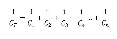 Formula de la capacitancia equivalente en un circuito serie de capacitores