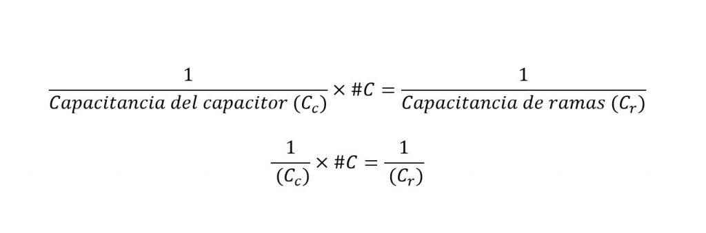Formula para obtener la capacitancia en una rama de un banco de capacitores