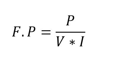 Formula del factor de potencia en términos de corriente y voltaje