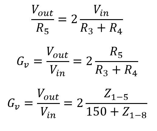 Fórmula para calcular la ganancia de tensión de un amplificador LM386