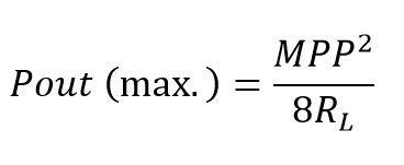 Formula de la máxima potencia de salida del amplificador clase c en alterna