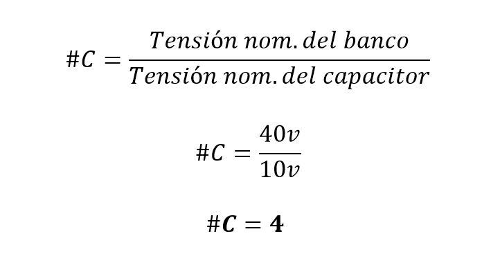 Formula para calcular el número de capacitores que requiere un banco de condensadores