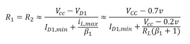 formula para calcular las resistencias de un Amplificador clase AB Push-Pull polarizado con diodos