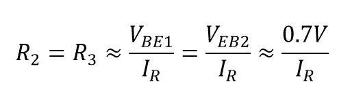 Formula para calcular las resistencias del amplificador clase ab push-pull unipolar con resistencias