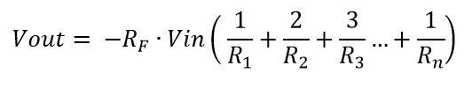Formula de salida del amp op sumador simplificada
