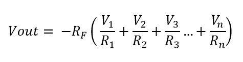 Formula para calcular el voltaje de salida del amplificador sumador