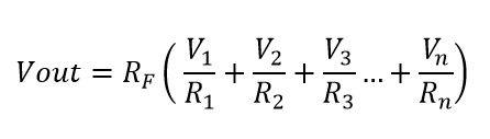 Formula para calcular el voltaje de salida del amplificador sumador no inversor