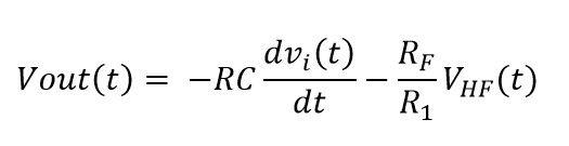 Formula de salida del amplificador derivador real