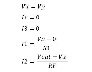 Formulas de corrientes en amplificador no inversor
