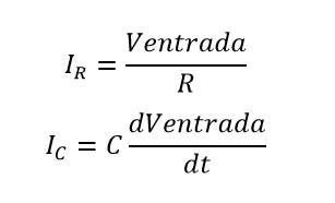 Formulas de corriente de un circuito rc en paralelo