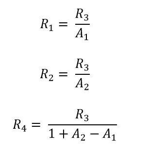 Formulas para calcular R1, R2 y R4 del amp op restador