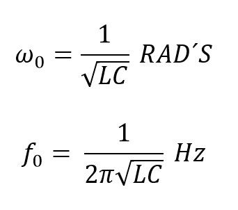 Formulas de frecuencia del circuito LC resonante