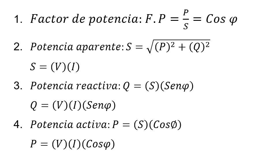 Formulas generales del factor de potencia