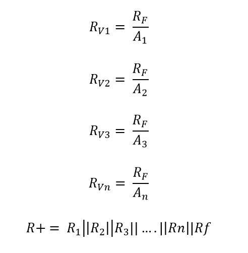 Formulas para calcular las resistencias en un amplificador sumador