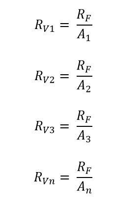 Formulas de la resistencia en un amplificador sumador no inversor