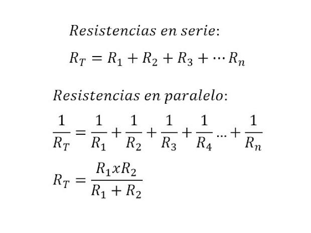 Formulas de resistencias en serie y paralelo