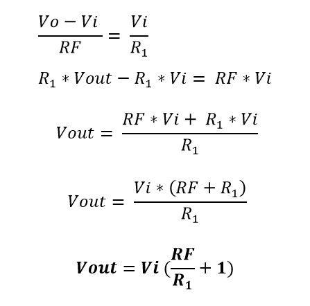 Desglose de la formula del voltaje de salida del amplificador no inversor