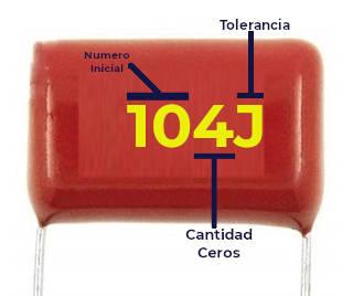 Lectura de capacitor de poliester, solo indica la capacitancia y tolerancia