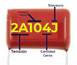 Lectura de capacitor de poliester, solo indica la capacitancia, tolerancia y tensión eléctrica