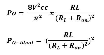 Formula de la potencia de salida del amplificador D CMOS