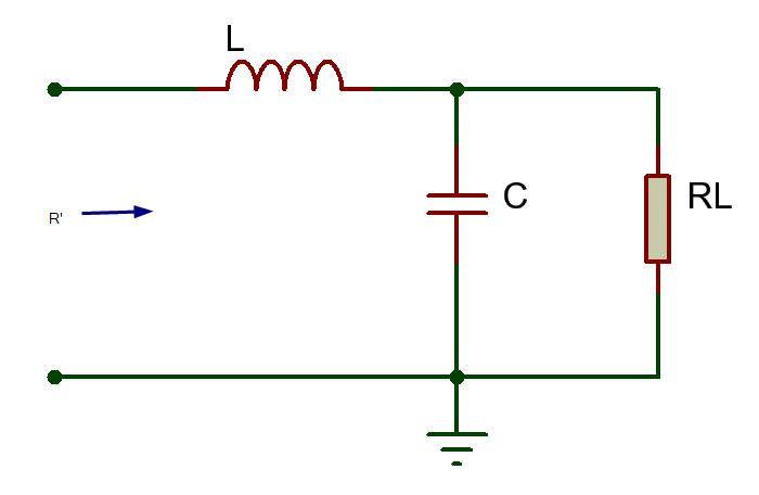 Circuito Red tipo L cuando r es mayor a RL amplificador clase c