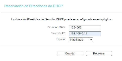 Establecer una IP fija a través de MAC