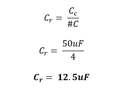Resultado de la capacitancia en una rama de un banco de capacitores