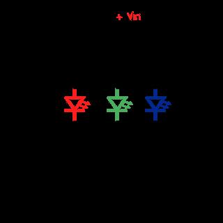 LED RGB conectado en ánodo común