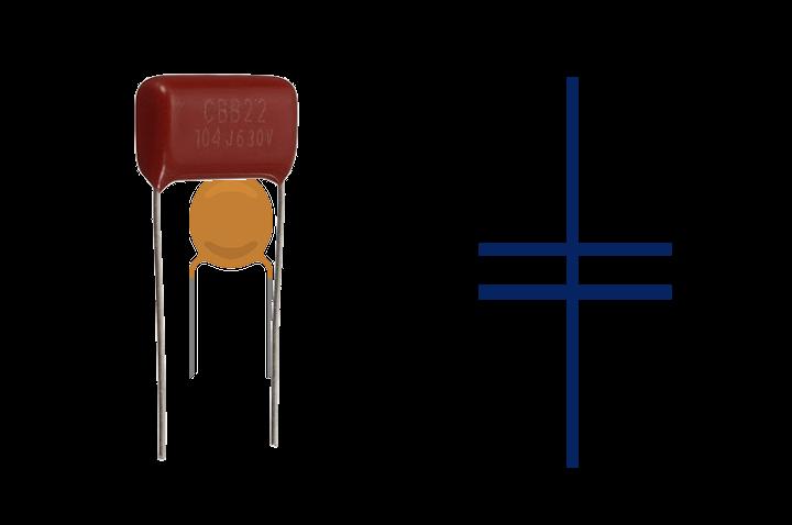 Símbolo eléctrico del condensador de poliester