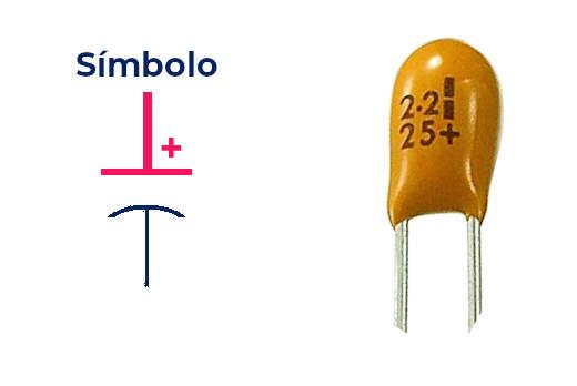Símbolo del capacitor de tantalio