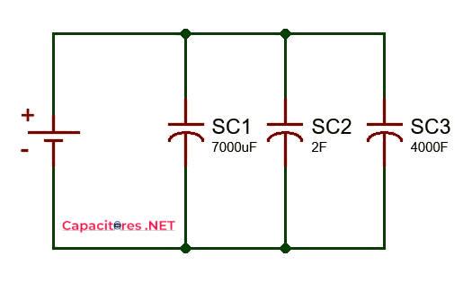 Conexión de supercapacitores en paralelo