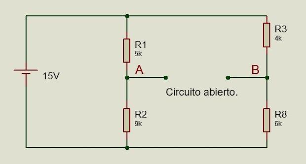 Circuito equivalente para el voltaje de Thevenin