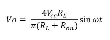 Formula voltaje de salida amplificador D CMOS