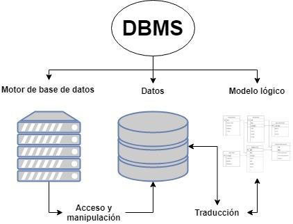 Componentes principales de un manejador de base de datos