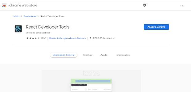 Página oficial Chrome Web Store de React Developer Tools