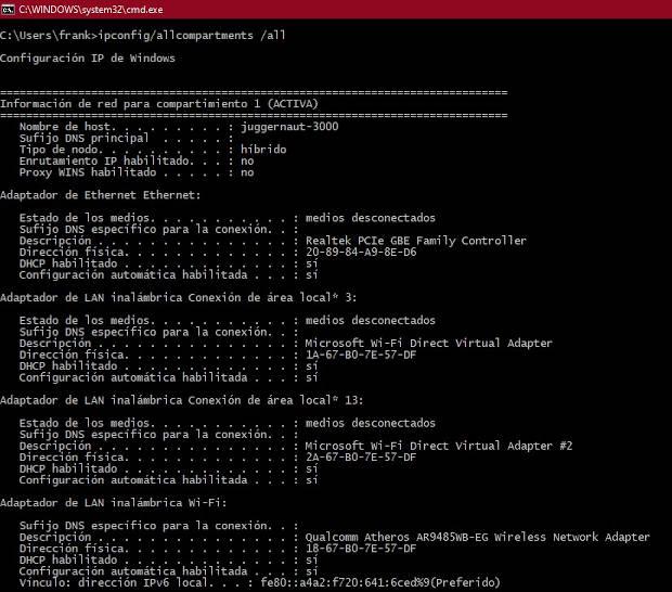 Ejemplo ejecución comando ipconfi / allcomparments / all