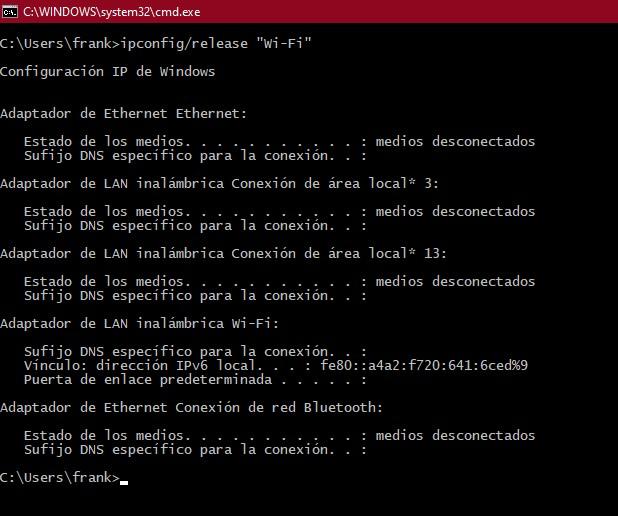 Ejemplo de ejecución comando ipconfig release Wi Fi