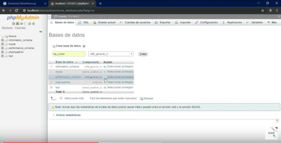 Crear base de datos para wordpress