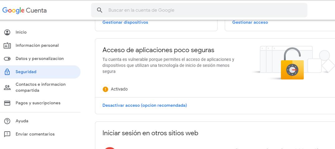 Servicio SMTP de Gmail activado