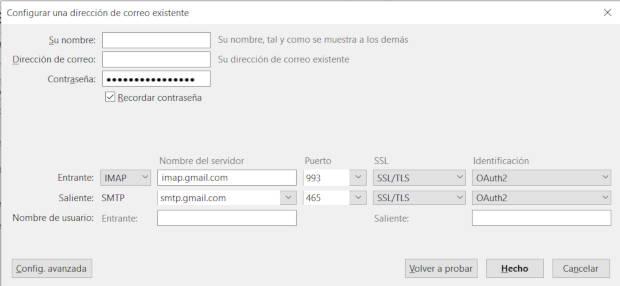 Datos completos del servidor SMTP de GMAIL