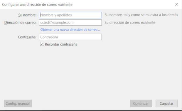 Datos de correo de Gmail en Thunderbird