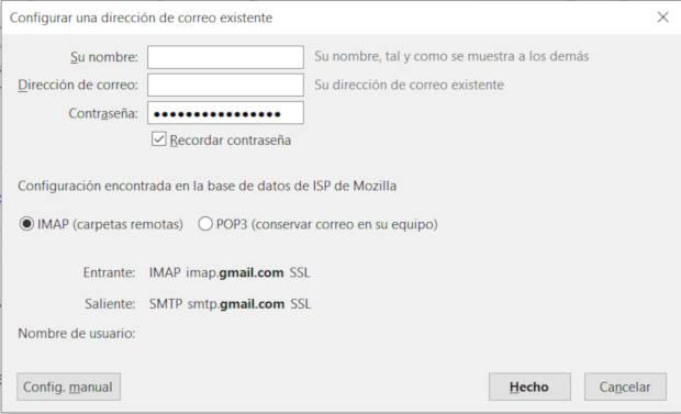 Datos SMTP de Gmail en Thunderbird