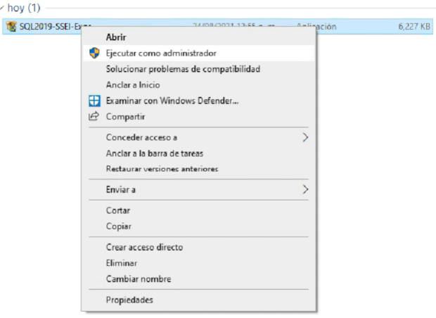 Ejecutar el instalador de SQL Server Express 2019 como administrador en Windows