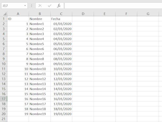 Ejemplo de un archivo de Excel para convertir a JSON