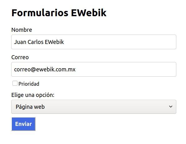 Formulario ejemplo en el manejo de forms en react js