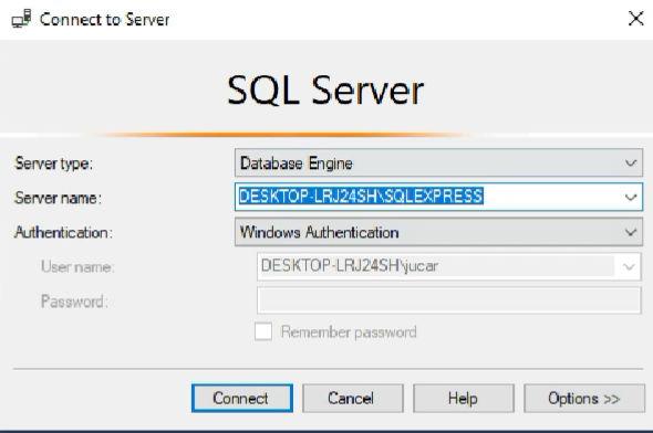 Conexión a SQL Server Express 2019 desde microsoft management studio