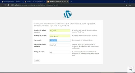 Información de la base de datos de wordpress