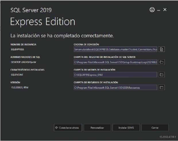 Fin de la instalación, opciones y características instaladas de SQL Server Express 2019