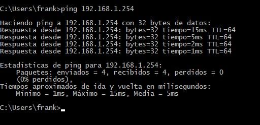 Realizar ping al router