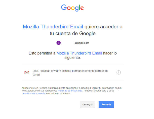 Ventana donde permites que Thunderbird acceda a tu correo de Gmail